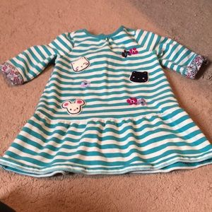 Gymboree 2T striped dress with cats / flowers